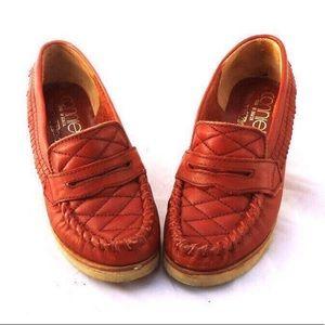 Vintage Leather Wood Wedge Heels 7
